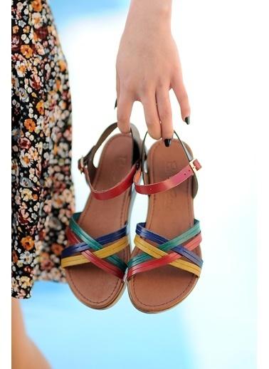 Pembe Potin A218-20 Kadın sandalet Renkli